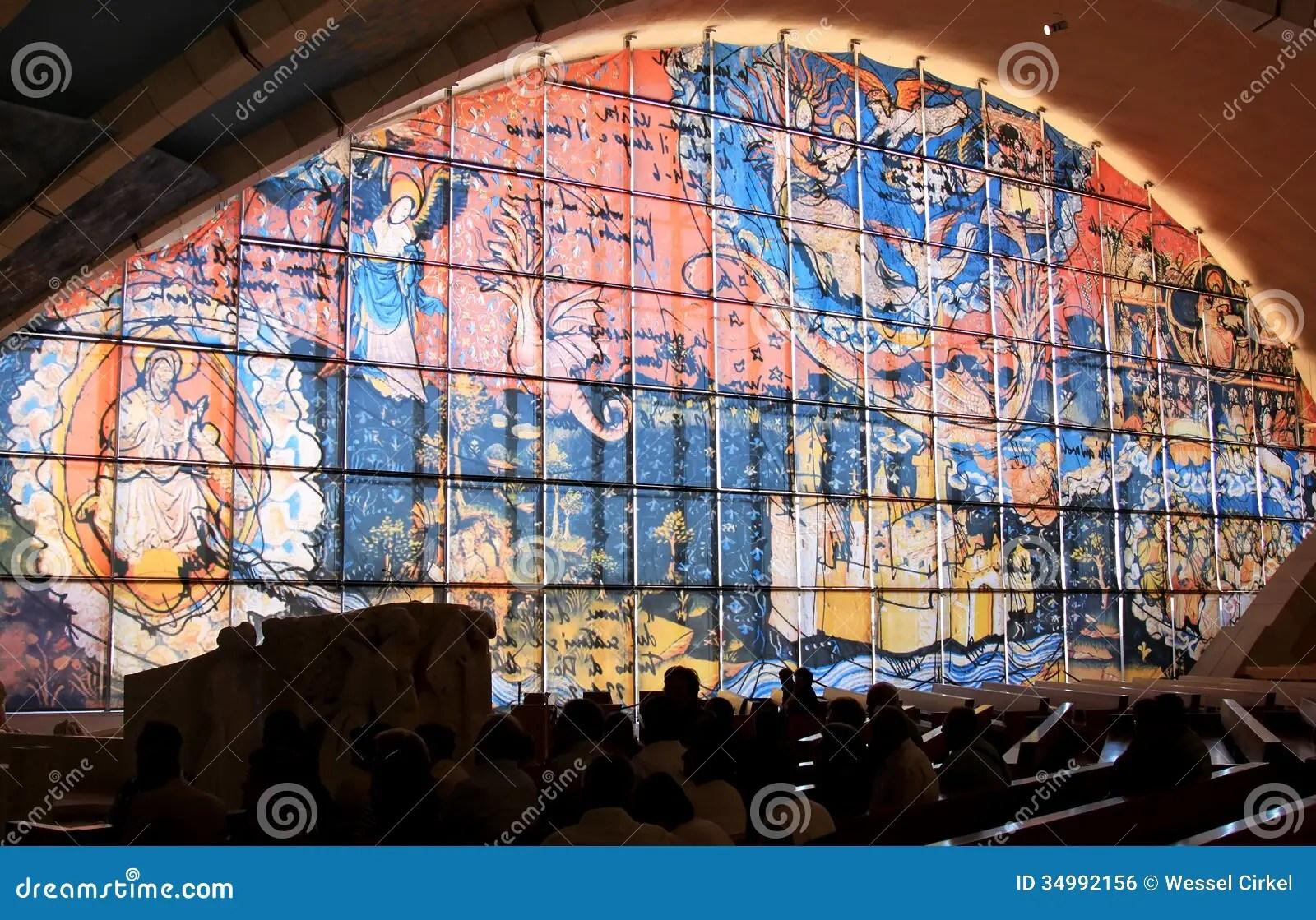 Window Picture In Padre Pio Pilgrimage Church Italy