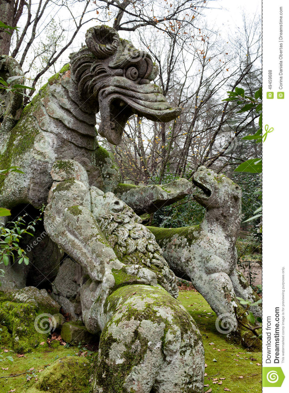 Winged Dragon Statue Bomarzo Viterbo Italy Stock Photo