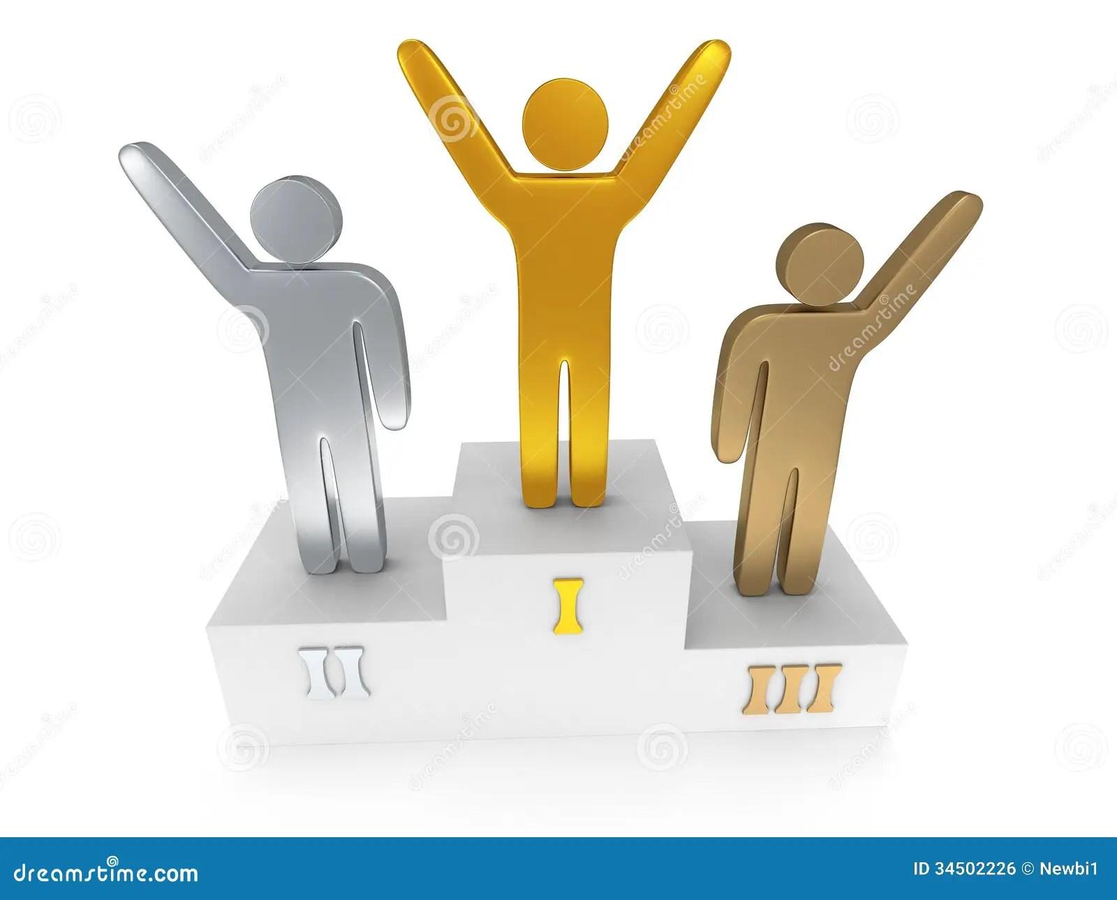 Winners On Sports Podium On White Stock Illustration ...