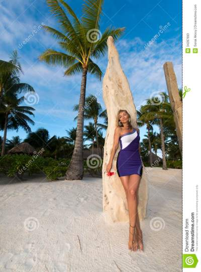 Woman On Vacation In Bora Bora Stock Image - Image of ...