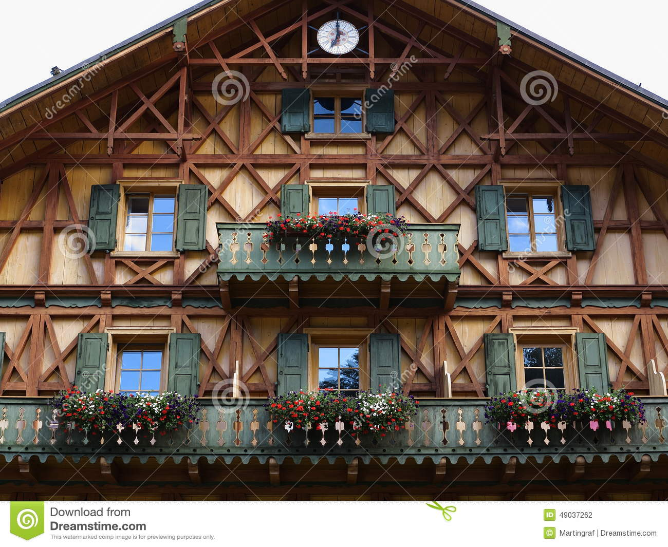 Wooden House Facade Country Style Stock Photo Image