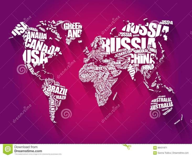 World Map In Typography Word Cloud Stock Image   Image of geography     Download comp