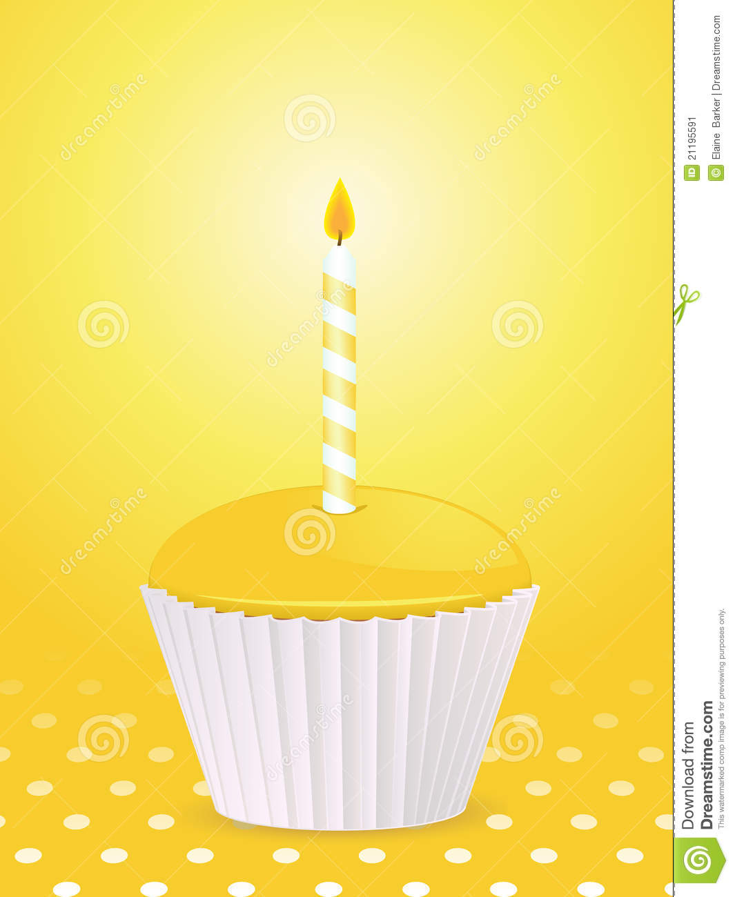 Yellow Birthday Cupcake And Candle Stock Vector