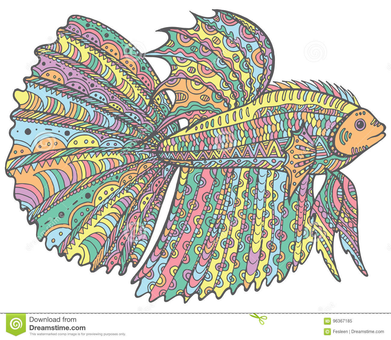 Zentangle Doodle Betta Fish Colorful Version Of Coloring Page