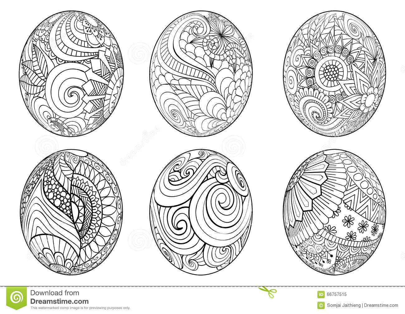 Zentangle Easter Eggs For Coloring Book For Adult Stock Vector