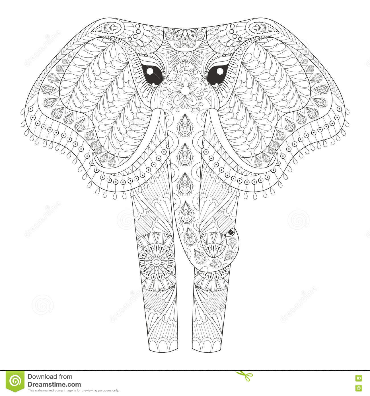 Elephant Zentangle Coloring Page Stock Illustration Image 61288273