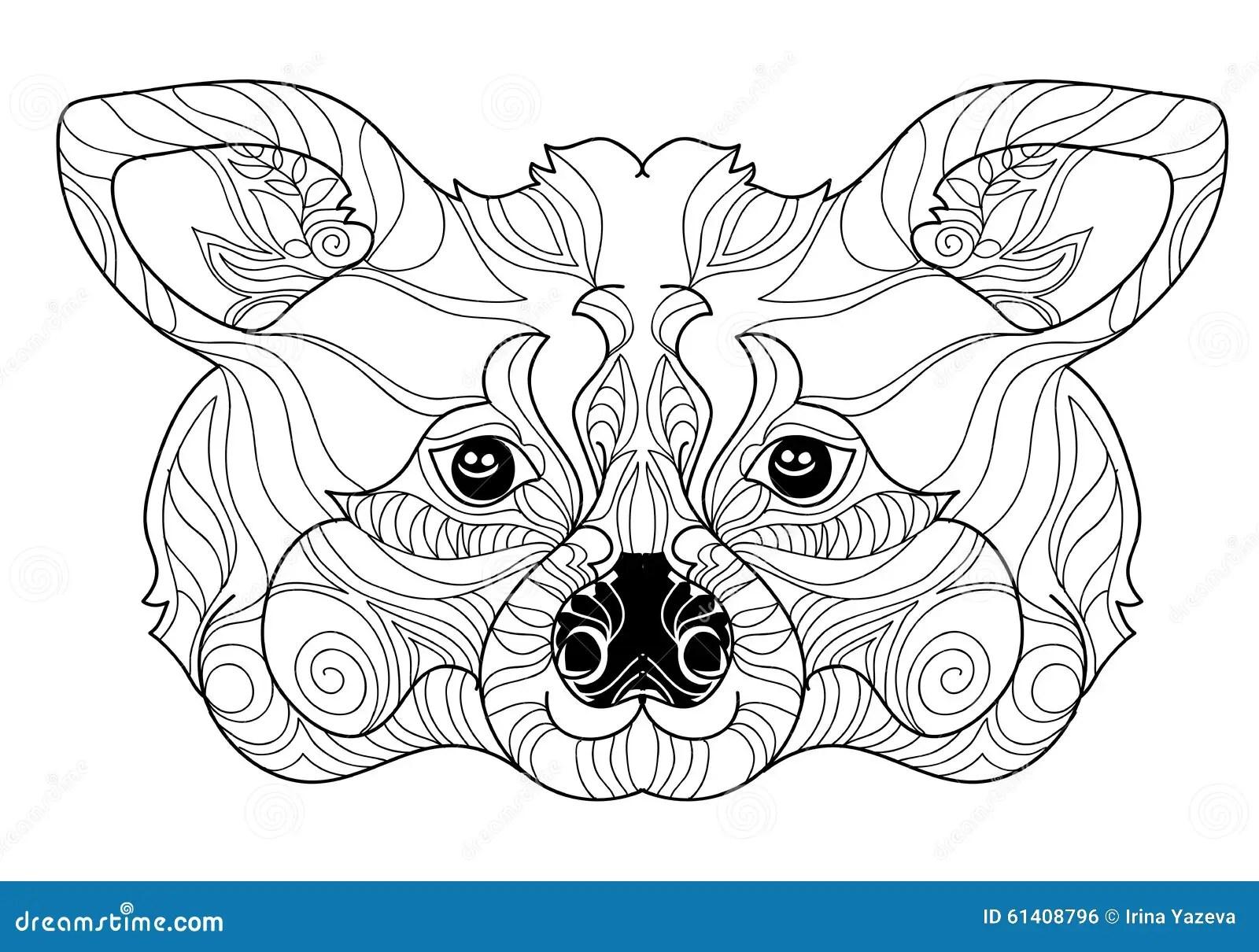 Zentangle Raccoon Head Doodle Hand Drawn Stock Vector Image