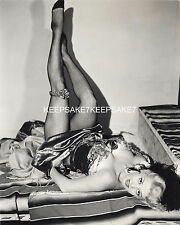 BEAUTIFUL SHOWGIRL ON HER BACK LEGS IN THE AIR LEGGY FISHNETS PHOTO A-DALT1