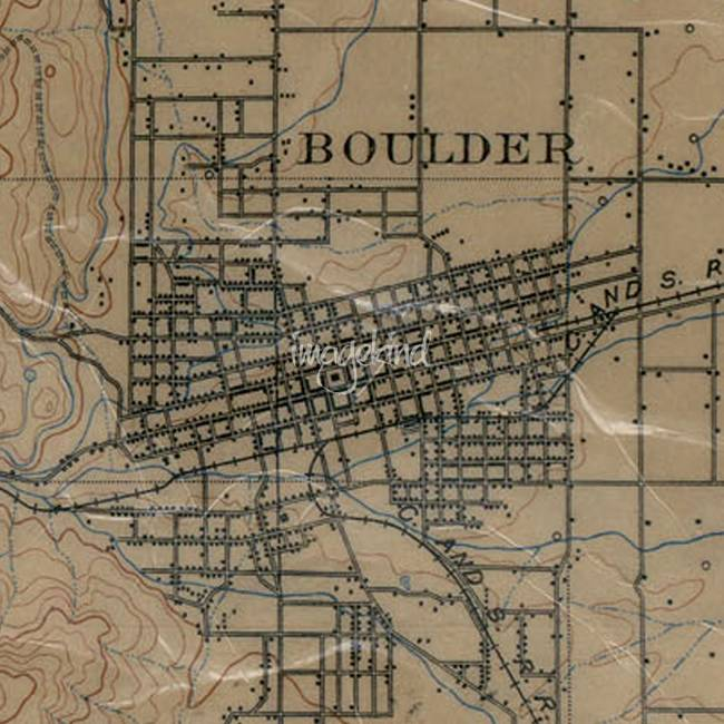 Historical  Colorado  Pen Drawings And Illustrations For Sale On        Vintage Map of Boulder Colorado  1904     by Alleycatshirts