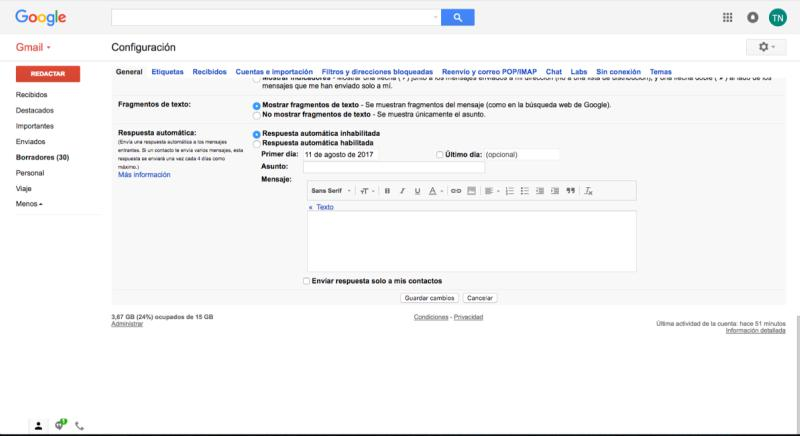 Gmail Guardar cambios
