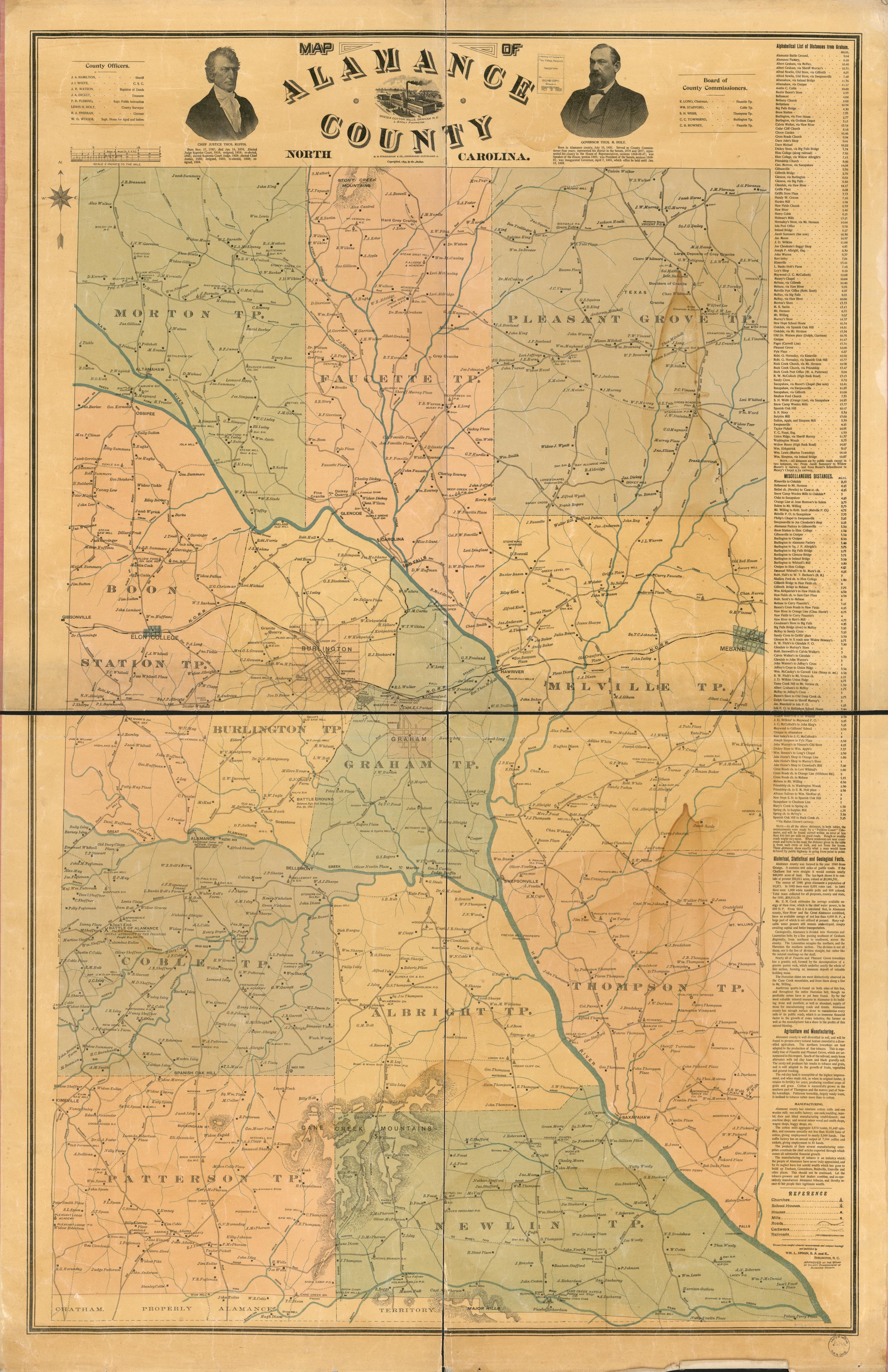 Map County North Carolina Alamance