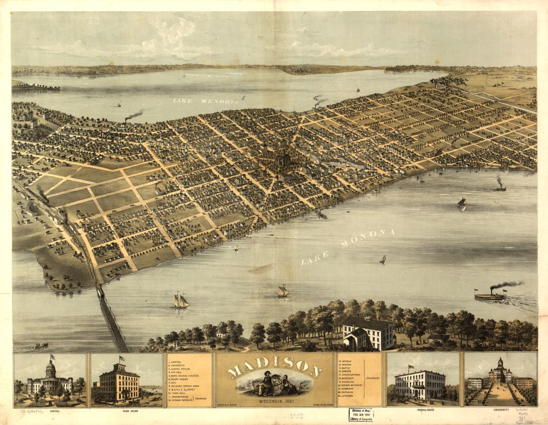 Madison  Wisconsin 1867    Library of Congress Map Madison  Wisconsin 1867