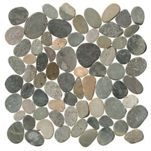 Stone   Pebbles Floor Tile   The Tile shop Polished Grey Mosaic Rock Pebble Tile   12 x 12 in