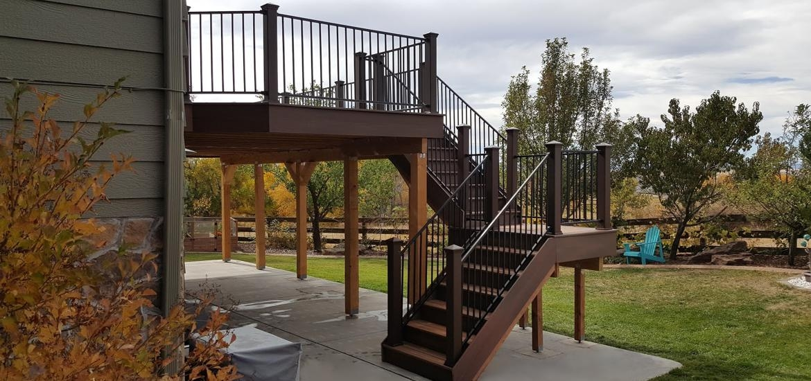 Railing For Decks Timbers Diversified Wood Products Colorado   Metal Handrails For Decks   Small Deck   Outdoor   Residential   Metal Rope   Decorative