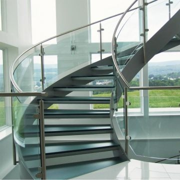 Fashion Design Wooden Curved Staircase With Glass Railing Of   Steel Round Staircase Design   Stair Steel Grill   Top Floor Railing   Terraced House   Semi Circular   Circle Stair