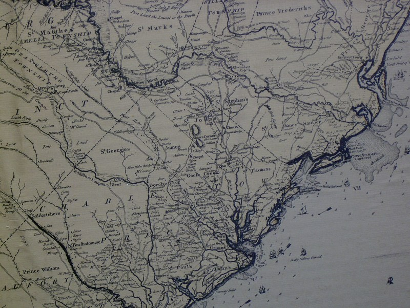 South Carolina Maps     Mouzon 1775 Map showing Charleston  large file