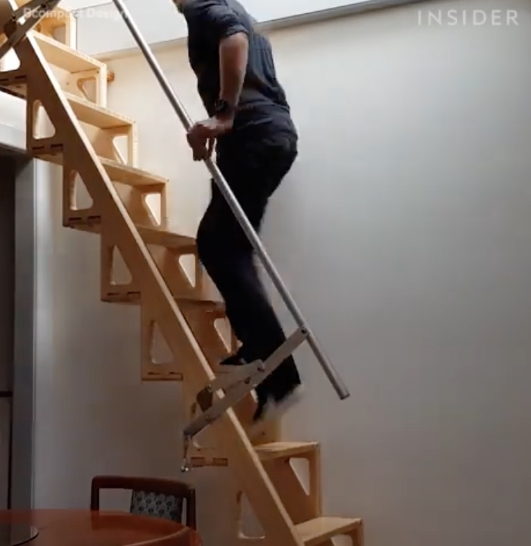 Amazing Tiny House Loft Staircase That Seamlessly Hides Away   Folding Loft Stairs With Handrail   Circle Stair   Design   Limited Space   Stairway Osha   Semi Automatic