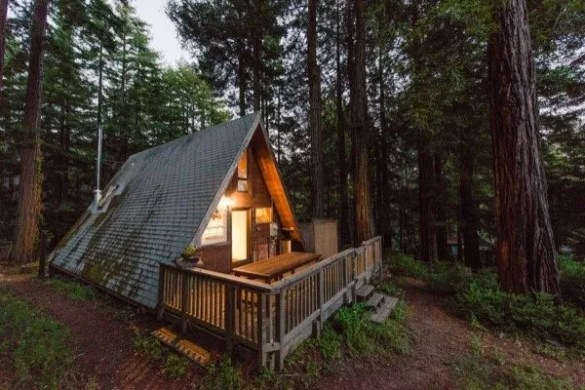 Amazing Tiny A Frame Cabin in the Redwoods amazing tiny a frame cabin in the redwoods
