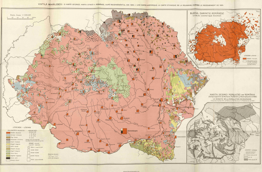 Ethnic map of  Greater  Romania  based on the census of 1930     Ethnic map of  Greater  Romania  based on the census of 1930  Vintil      Mih    lescu    The Carpathian Bloc     Bucharest  1942  OS  2628x1727