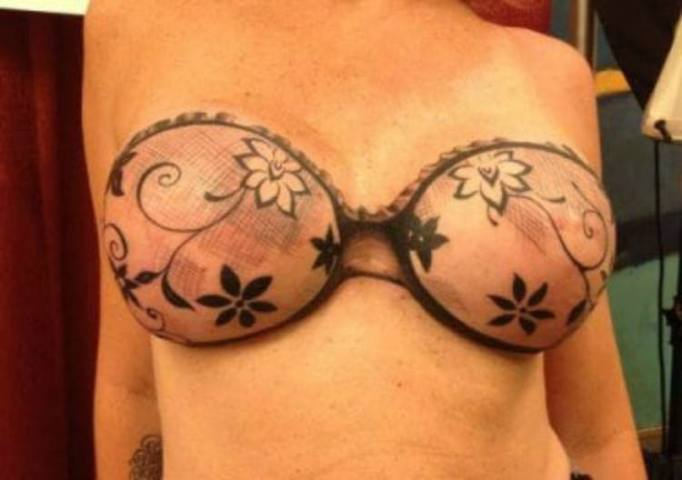 13 Beautiful Tattoos for Breast Cancer Survivors   TipHero Lace Bra Tattoo
