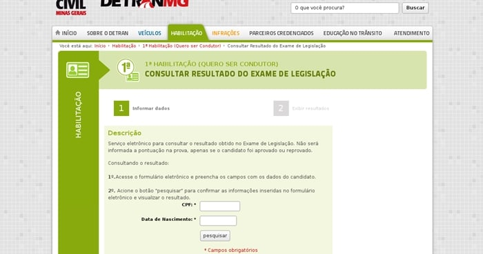 resultados Detran Minas Gerais
