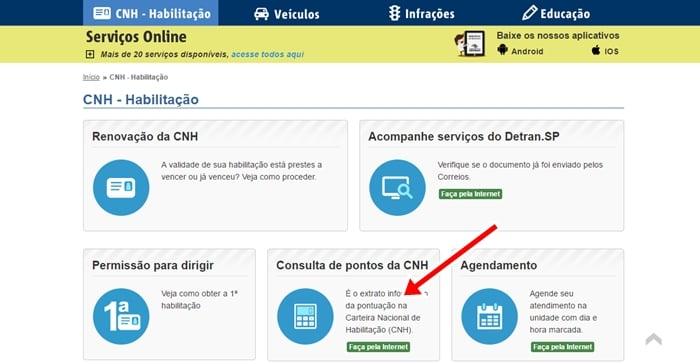consulta de pontos na CNH Detran SP