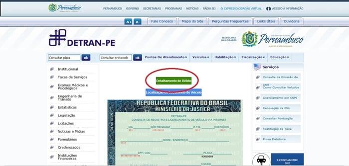 Consulta de multas Detran PE