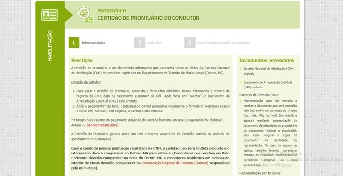 Certidão de prontuário da CNH