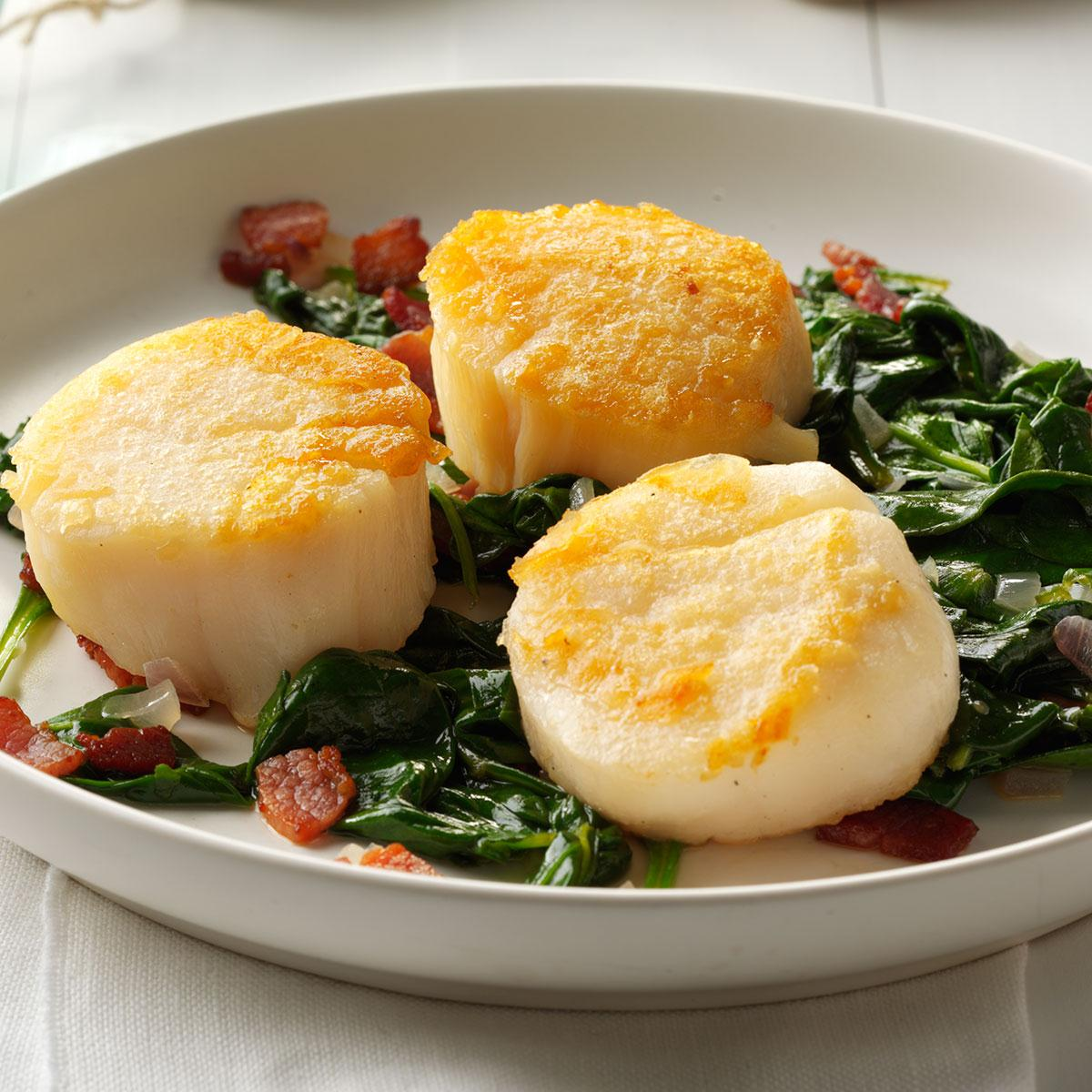 Scallops with Wilted Spinach Recipe   Taste of Home