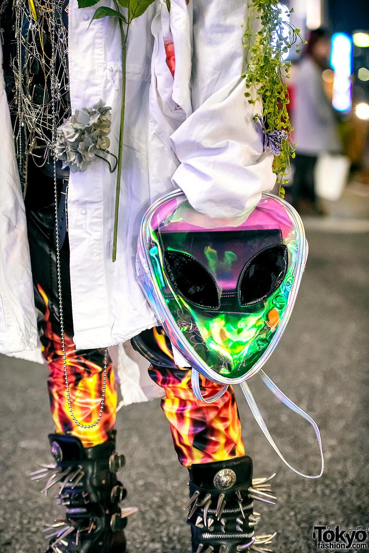 Japanese Streetwear W Dog Harajuku Metal Face Mask