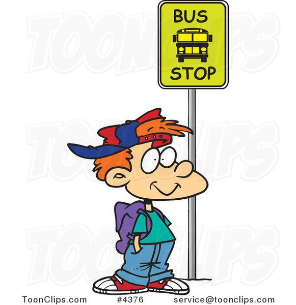 Student Waiting School Bus Cartoon