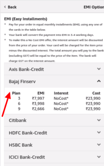 Amazon Bajaj Finserv Plans