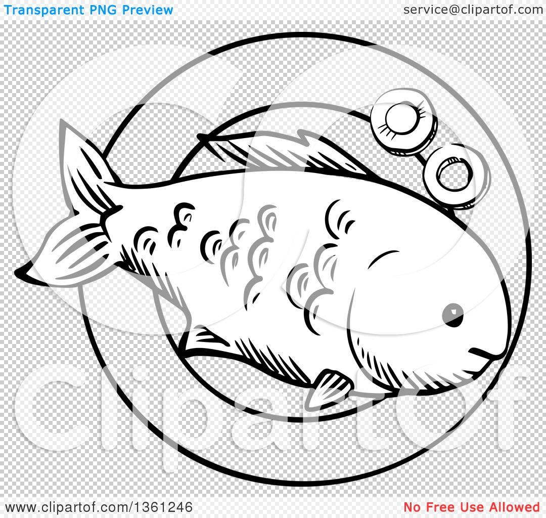 Clipart Of A Black And White Sketched Cooked Fish On A Plate