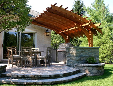 Contemporary Outdoor Kitchen Pergola No  KP6   by Trellis Structures Contemporary Pergola No  KP6a  Contemporary Outdoor Kitchen