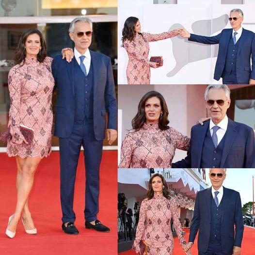 Andrea Bocelli e sua moglie Veronica Berti, questo pomeriggio, sul Red Carpet della 78esim…