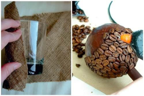 Горшочек из стакана и обклейка зернами кофе