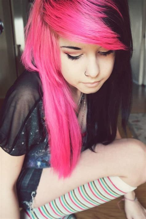 scene hair pink black hairstyle standouts pinterest