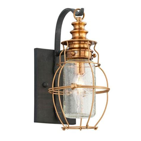 troy harbor aged brass light small wall sconce