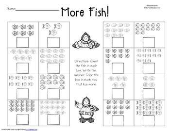 comparing sets worksheet kindergarten hoppenings tpt
