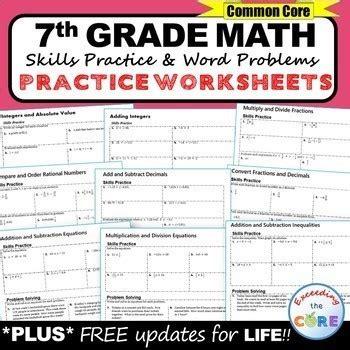 7th grade homework math worksheets skills practice word
