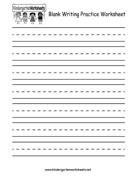 kindergarten blank writing practice worksheet printable writing practice