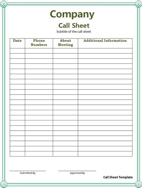 call sheet template templates printable free word template