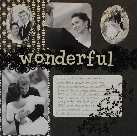 black white wonderful wedding scrapbook layout crafting couture