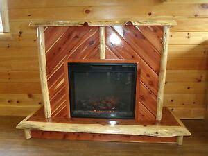 rustic red cedar log electric fireplace includes insert