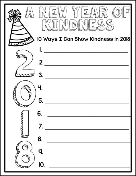 celebrate year resolutions kindness challenge writing 2020 grade