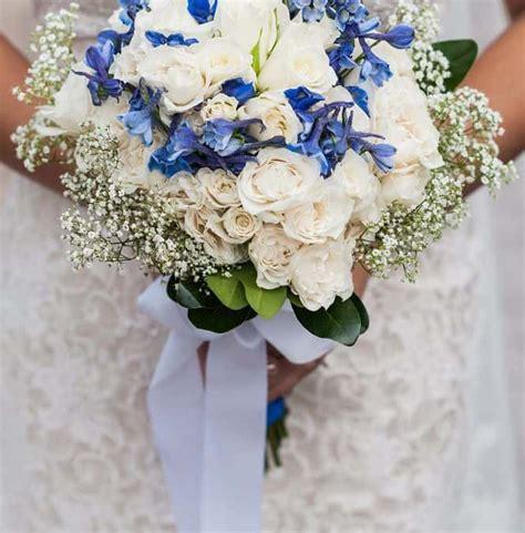 blue white diy wedding flowers real wedding