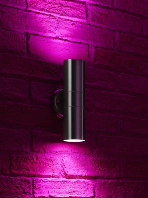Auraglow Stainless Steel Double Up Down Outdoor Led Colour Changing Wall Light Ebay.html