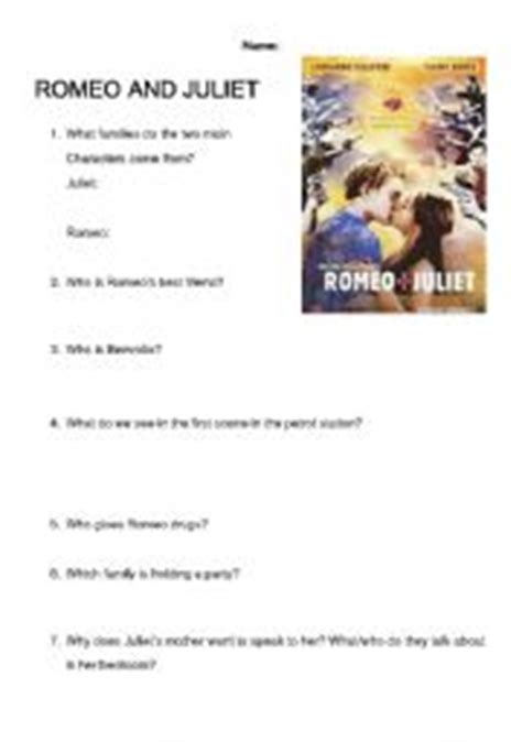 romeo juliet comprehension worksheet