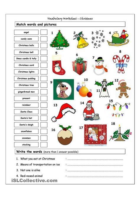 christmas vocabulary worksheets elementary students google keresé hojas