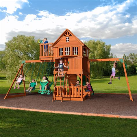 backyard discovery skyfort cedar swing set reviews wayfair